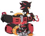 ... 1boy 1other :> animal_nose arm_support black_fur blush chao_(sonic) closed_eyes closed_mouth e-123_omega english_commentary flying_sweatdrops furry gloves heart hedgehog hedgehog_tail hug joints motobug red_fur robot robot_joints shadow_the_hedgehog simple_background sitting sonic_the_hedgehog spoken_ellipsis sweat two-tone_fur white_background