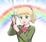 1girl blonde_hair breasts character_request green_eyes looking_at_viewer medium_hair open_mouth ponytail smile solo sword ueyama_michirou weapon