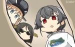 3girls alternate_costume bangs bismarck_(kantai_collection) black_hair blonde_hair casual commentary_request dated eating empty_eyes eyebrows_visible_through_hair food fork from_below hair_flaps hair_ornament hairclip hamu_koutarou highres jingei_(kantai_collection) kantai_collection kirishima_(kantai_collection) long_hair looking_at_viewer low_ponytail multiple_girls nice_boat open_mouth pasta red_eyes short_hair signature spaghetti sunglasses sweater upper_body white_sweater
