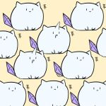 6+others :| animal_ears artia_(artist) black_eyes character_request closed_mouth commentary creature drooling english_commentary flat_color highres hololive hololive_china horns limited_palette multiple_others no_humans open_mouth simple_background single_horn tail translation_request yellow_background |_|
