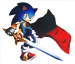 1boy animal_nose caliburn_(sonic) cape commentary full_body furry gauntlets gloves green_eyes holding holding_sword holding_weapon icen-hk male_focus red_cape red_footwear shoes simple_background sneakers solo sonic sonic_and_the_black_knight sonic_the_hedgehog sword weapon white_background white_gloves