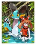 1girl aron bangs bare_arms bow_hairband brown_hair closed_mouth commentary_request day eyelashes foliage gen_3_pokemon grey_eyes hairband highres hyou_(hyouga617) light_beam looking_to_the_side lotad may_(pokemon) pokemon pokemon_(creature) pokemon_(game) pokemon_oras red_hairband red_shirt shirt shorts sleeveless sleeveless_shirt swampert wading water white_shorts