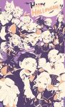 4boys 6+girls :d :o ^_^ animal_ears basket bat beatrice_(re:zero) bow candy candy_print capelet cat_ears chain claws cleavage_cutout closed_eyes clothing_cutout collar costume detached_sleeves dress drill_hair emilia_(re:zero) english_text everyone eyebrows_visible_through_hair fake_animal_ears fangs feather_hair_ornament food foreshortening frederica_baumann frilled_dress frills full_moon garfiel_tinsel ghost_costume hair_between_eyes hair_ribbon hair_slicked_back halloween halloween_basket halloween_costume happy_halloween harusabin hat highres hood hood_down hooded_capelet jack-o'-lantern korean_commentary limited_palette long_hair long_sleeves looking_at_viewer mixed-language_commentary moon multiple_boys multiple_girls natsuki_subaru one_eye_closed open_mouth otto_suewen outstretched_arm patrasche_(re:zero) petra_leyte puck_(re:zero) pumpkin ram_(re:zero) re:zero_kara_hajimeru_isekai_seikatsu reaching_out rem_(re:zero) ribbon roswaal_l._mathers sanpaku sharp_teeth short_hair signature sleeveless smile symbol-shaped_pupils teeth twin_drills twitter_username vampire_costume wings witch_costume witch_hat