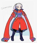 1girl armor black_footwear blue_eyes boots commission denaseey dress edelgard_von_hresvelg english_text eyeshadow fire_emblem fire_emblem:_fuukasetsugetsu fire_emblem:_three_houses fire_emblem_16 full_body gloves grey_hair heart highres index_finger_raised intelligent_systems long_hair makeup nintendo red_dress red_gloves simple_background solo standing timeskip white_background young_adult