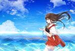 1girl akagi_(kantai_collection) arrow_(projectile) bangs bow_(weapon) brown_eyes brown_hair closed_mouth clouds day eyebrows_visible_through_hair from_side hakama hakama_skirt highres holding holding_bow_(weapon) holding_weapon japanese_clothes kantai_collection kozu_(bloomme1_me) long_hair muneate ocean outdoors profile quiver red_hakama sky solo tasuki thigh-highs water weapon white_legwear wind