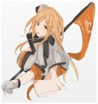 1girl artist_name breasts eyebrows_visible_through_hair flag girls_frontline gloves grey_background hat highres holding holding_flag jacket large_breasts long_hair looking_at_viewer looking_back m2hb_(girls_frontline) multicolored multicolored_clothes multicolored_jacket open_mouth orange_eyes orange_hair solo sutekina_awa white_gloves