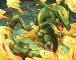black_sclera claws commentary_request dragon eastern_dragon fangs gen_3_pokemon kuronekotarou legendary_pokemon looking_at_viewer no_humans open_mouth pokemon pokemon_(creature) rayquaza solo yellow_eyes