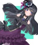 1girl bang_dream! bangs bare_shoulders black_hair blue_eyes blush bow brooch collarbone dress elbow_gloves eyebrows_visible_through_hair flower frilled_dress frills gen_3_pokemon gloves hair_flower hair_ornament hands_together highres jewelry long_hair ribbon ring roselia roselia_(bang_dream!) seojinhui shirokane_rinko