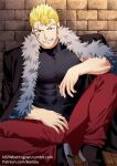 1boy bara black_jacket blonde_hair chest covered_abs elbow_rest fairy_tail feet_out_of_frame fur-trimmed_jacket fur_trim jacket kienbiu laxus_dreyar leg_up male_focus muscle pants patreon_username red_pants shirt short_hair solo spiky_hair taut_clothes taut_shirt