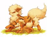 arcanine claws closed_mouth commentary_request eye_contact fur gen_1_pokemon grass growlithe kuronekotarou looking_at_another no_humans open_mouth paws pokemon pokemon_(creature) yellow_fur
