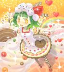 <3 cake cake_dress chocolate food food_as_clothes food_themed_clothes fruit green_hair happy heart inase orange_eyes pantyhose pastry short_hair strawberries strawberry striped striped_legwear striped_thighhighs sweets thigh-highs