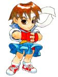 brown_hair capcom chibi fingerless_gloves gloves headband kasugano_sakura legs miniskirt neckerchief necktie panties pantyhose pantyshot sailor_crest school_uniform serafuku shirt shoes short_hair skirt sneakers socks street_fighter street_fighter_zero street_fighter_zero_ii super_puzzle_fighter_ii_turbo underwear wind_lift