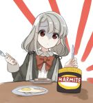 1girl :o bangs black_jacket blush_stickers bow brown_eyes collared_shirt commentary_request dress_shirt eyebrows_visible_through_hair food fork fried_egg grey_hair hair_between_eyes hands_up highres hisakawa_nagi holding holding_fork holding_knife idolmaster idolmaster_cinderella_girls idolmaster_cinderella_girls_starlight_stage jacket juliet_sleeves knife long_hair long_sleeves low_twintails marmite parted_lips plate puffy_sleeves red_bow shirt shiwa_(siwaa0419) solo table toast turn_pale twintails upper_body white_background white_shirt