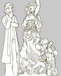 2boys applechoc astraea_(fate/grand_order) emiya_shirou fate/grand_order fate_(series) flower hammer hand_on_own_chin kotomine_kirei limited/zero_over multiple_boys open_mouth rasputin_(fate/grand_order) sculpting sculpture sengo_muramasa_(fate) sketch statue