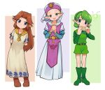 3girls :d arms_behind_back belt blonde_hair blue_eyes boots brown_hair commentary dress elf eyebrows_visible_through_hair green_eyes green_footwear green_hair green_hairband hair_intakes hairband hands_clasped hat highres instrument juliet_sleeves knee_boots kokiri leaning_to_the_side long_hair long_sleeves looking_at_viewer malon meis_(terameisu) multiple_girls music ocarina open_mouth own_hands_together playing_instrument pointy_ears princess_zelda puffy_sleeves saria short_hair short_over_long_sleeves short_sleeves simple_background smile the_legend_of_zelda the_legend_of_zelda:_ocarina_of_time triforce young_zelda younger