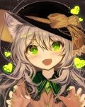 1girl alternate_hair_length alternate_hairstyle animal_ear_fluff animal_ears bangs black_headwear blush bow buttons cat_ears claw_pose collared_shirt commentary crystal dark_background eyebrows_visible_through_hair fangs fuupu glowing glowing_eyes glowing_heart green_eyes green_nails grey_hair hair_between_eyes halloween hands_up hat hat_bow head_tilt heart komeiji_koishi lace-trimmed_collar lace_trim light_smile long_hair nail_polish open_mouth ribbon shirt sidelocks silver_hair skin_fangs solo string touhou upper_body wing_collar yellow_bow yellow_ribbon yellow_shirt