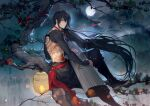 1boy abs arm_wrap back_tattoo bangs black_footwear black_hair black_pants boots chest_tattoo closed_mouth fate/grand_order fate_(series) from_side full_body full_moon green_eyes hair_between_eyes hand_wraps highres holding holding_instrument in_tree instrument koto_(instrument) lantern light_smile long_hair looking_at_viewer low_ponytail male_focus moon night outdoors pants paper_lantern red_neckwear red_ribbon red_sash ribbon rrr_(reason) sash shirtless sitting sitting_in_tree solo tattoo tree very_long_hair yan_qing_(fate/grand_order)