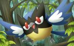 bird commentary_request day gen_8_pokemon hakuginnosora highres no_humans open_mouth outdoors pokemon pokemon_(creature) red_eyes rookidee running solo talons tongue tree