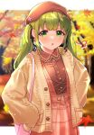 1girl autumn autumn_leaves bag bangs beret blurry blurry_background bow buttons coat dress eyebrows_visible_through_hair green_eyes green_hair hair_bow hair_ornament handbag hands_on_hips hat highres leaf long_hair long_sleeves maple_leaf morinaka_kazaki motion_blur nijisanji open_mouth plaid plaid_dress sidelocks sleeves_past_wrists solo tree twintails unionjack576 v-shaped_eyebrows virtual_youtuber