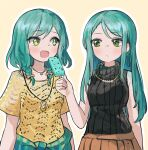 2girls absurdres aqua_hair bang_dream! bare_shoulders blush collarbone food highres hikawa_hina hikawa_sayo ice_cream jewelry multiple_girls necklace open_mouth seojinhui shirt skirt sleeveless sleeveless_turtleneck turtleneck yellow_eyes yellow_shirt