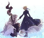 1boy 1girl ahoge artoria_pendragon_(all) bangs black_legwear blonde_hair blue_dress boots braid capelet cloak closed_eyes dress facing_to_the_side fate/grand_order fate_(series) hair_bun hair_ribbon highres holding holding_hands holding_staff hood kneeling long_hair looking_at_another looking_down merlin_(fate) metal_boots one_knee outstretched_arm petals ribbon robe saber short_hair sidelocks simple_background staff standing tmtm24787088 white_hair