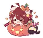 >_< 1girl :d ahoge animal_ear_fluff animal_ears bangs bell bow brown_hair brown_kimono candy_wrapper cat cat_ears checkerboard_cookie chibi closed_eyes cookie eyebrows_visible_through_hair fang flot food hair_bell hair_bow hair_ornament halloween halloween_basket ichihime japanese_clothes jingle_bell kimono long_sleeves mahjong_soul open_mouth red_bow simple_background smile solo star_(symbol) stitches white_background wide_sleeves xd