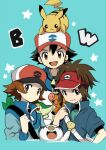 3boys akakokko ash_ketchum bag bangs baseball_cap black_hair blue_jacket brown_eyes commentary_request copyright_name gen_1_pokemon gen_5_pokemon hat jacket long_sleeves looking_at_viewer male_focus multiple_boys nate_(pokemon) on_head open_mouth oshawott pikachu pokemon pokemon_(anime) pokemon_(creature) pokemon_(game) pokemon_bw pokemon_bw2 pokemon_bw_(anime) pokemon_on_head popped_collar short_sleeves shoulder_bag smile snivy star_(symbol) starter_pokemon_trio tepig tongue zipper_pull_tab