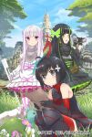 3girls :d ahoge animal_on_head armor armored_boots artist_name bangs bare_shoulders binoculars bird bird_on_head black_armor black_dress black_eyes black_footwear black_gloves black_hair blue_sky blunt_bangs blush bob_cut boots bottle bow bracer breastplate closed_mouth cover_image day detached_sleeves dot_nose dress eyebrows_visible_through_hair flower frilled_dress frilled_sleeves frills gloves gothic_lolita grass green_bow green_eyes green_hair hair_ornament hair_strand hammer highres holding holding_binoculars holding_hammer holding_paper holding_weapon huge_weapon itai_no_wa_iya_nano_de_bougyoryoku_ni_kyokufuri_shitai_to_omoimasu juliet_sleeves koin_(foxmark) layered_dress lolita_fashion long_hair long_sleeves looking_at_viewer looking_back maple_(bofuri) may_(bofuri) multicolored_hair multiple_girls official_art on_head open_mouth outdoors paper pink_bow pink_hair puffy_sleeves red_legwear shiny shiny_hair short_hair siblings sisters sky smile squatting standing streaked_hair striped striped_legwear syrup_(bofuri) thigh-highs thigh_boots thighhighs_under_boots turtle turtleneck twins two-tone_hair vertical-striped_legwear vertical_stripes very_long_hair violet_eyes water_bottle weapon white_dress white_hair wide_sleeves yui_(bofuri)