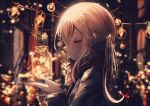1girl bangs black_jacket blonde_hair blurry blurry_background blush closed_eyes eyebrows_visible_through_hair from_side hair_between_eyes holding_jar jacket light_bulb light_particles noyu_(noyu23386566) original scarf sepia sidelocks solo twintails upper_body