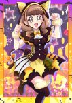 1girl :d animal_ears bangs black_capelet black_footwear blunt_bangs boots bow brown_eyes brown_hair capelet cat_ears cat_tail eyebrows_visible_through_hair fake_animal_ears fur_boots halloween halloween_costume hanzou healin'_good_precure high_heels highres hiramitsu_hinata hood hooded_capelet layered_skirt long_hair miniskirt open_mouth orange_bow precure shiny shiny_hair short_sleeves skirt smile solo standing standing_on_one_leg tail tail_bow thigh-highs thigh_boots twintails yellow_neckwear zettai_ryouiki