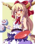1girl alcohol bangs belt blonde_hair blush bow breasts chain commentary cowboy_shot cup drunk eyebrows_visible_through_hair eyes_visible_through_hair fang gourd hair_between_eyes hair_bow highres holding holding_cup horn_ornament horn_ribbon horns ibuki_suika incoming_drink long_hair looking_at_viewer low-tied_long_hair minato_mal neckerchief oni orange_eyes purple_ribbon red_bow red_neckwear ribbon sakazuki sake shirt sideboob sidelocks simple_background skin_fang skirt sleeveless sleeveless_shirt small_breasts solo standing torn_clothes torn_sleeves touhou two-tone_background white_background white_shirt white_skirt wristband yellow_background