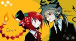 1boy 1girl anten_(sutare_yume) bow braid bright_pupils candla_(mogeko) candle character_name collared_shirt demon_boy demon_horns demon_tail fiery_hair fire formal funamusea grey_hair hat hat_bow horns long_hair mini_hat mini_top_hat neck_ribbon pale_skin polka_dot polka_dot_bow ponytail red_bow red_eyes red_ribbon redhead ribbon shirt sideways_mouth single_braid suit sutare_yume tail top_hat white_pupils white_shirt zenryoku_eimin
