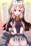 1girl absurdres afterimage animal_costume artist_name baileys_(tranquillity650) black_serafuku black_skirt blonde_hair blush breasts eyebrows_visible_through_hair fang hair_flaps hair_ornament hairclip highres kantai_collection large_breasts long_hair motion_lines neckerchief open_mouth paws pleated_skirt red_eyes red_neckwear remodel_(kantai_collection) school_uniform serafuku short_sleeves signature skin_fang skirt smile solo tail thought_bubble translation_request twitter_username wolf_costume wolf_paws wolf_tail yuudachi_(kantai_collection)