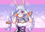 animal_ears bare_arms blue_hair braid bunny-shaped_pupils carrot_hair_ornament closed_mouth cross-laced_clothes eyebrows food_themed_hair_ornament frilled_straps gloves gradient_eyes hair_ornament heart heart_hands hikimayu hololive idol idol_clothes long_hair multicolored multicolored_eyes multicolored_hair niaro nonstop_story orange_eyes rabbit_ears rabbit_girl signature smile sweatdrop twin_braids twintails two-tone_hair usada_pekora v-shaped_eyebrows virtual_youtuber white_gloves white_hair yellow_eyes