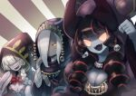 3girls :d absurdres bandages bandages_over_eyes black_hair bow bowtie breasts covered_eyes dress drill_hair fangs grey_skin hair_over_one_eye hand_up hat highres hood hood_up hooded_robe kuda_(okame_nin) large_breasts looking_at_viewer multicolored_hair multiple_girls no_mouth no_pupils okame_nin one_eye_covered open_mouth original purple_skin red_neckwear redhead robe sharp_teeth smile streaked_hair striped striped_background teeth tentacles twin_drills upper_teeth white_hair yellow_eyes
