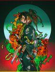 1boy black_hair dororo_(tezuka) haun hyakkimaru_(dororo) japanese_clothes katana kimono ponytail prosthesis prosthetic_arm red_eyes sidelocks solo sword tied_hair weapon