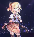 1girl adapted_costume alternate_hairstyle artist_apprentice blonde_hair closed_eyes gloves hair_ornament high-waist_skirt highres hololive hololive_english idol idol_clothes microphone monocle_hair_ornament music open_mouth plaid plaid_skirt pocket_watch ponytail singing skirt solo syringe syringe_hair_ornament thigh-highs virtual_youtuber watch watson_amelia zettai_ryouiki