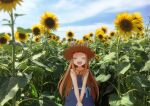 1girl ayatank blue_dress blue_sky blush brown_hair closed_eyes clouds cloudy_sky dress field flower flower_field hat highres ichihara_nina idolmaster idolmaster_cinderella_girls leaf long_hair open_mouth photo_background pocket ribbon sky smile solo straw_hat summer sunflower upper_body yellow_flower