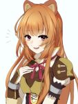 1girl :d animal_ears apo_chestnut brown_hair eyebrows_visible_through_hair hair_between_eyes leather_armor long_hair long_sleeves looking_at_viewer neck_ribbon open_mouth raccoon_ears raccoon_girl raphtalia red_eyes red_ribbon ribbon simple_background smile solo straight_hair tate_no_yuusha_no_nariagari upper_body very_long_hair white_background
