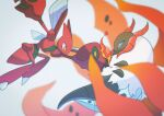 attack blue_eyes blurry claws commentary_request fire flame_body_(pokemon) gen_2_pokemon gen_5_pokemon highres insect_wings no_humans orange_eyes pokemon pokemon_(creature) saiku_(zvlku) scizor volcarona white_fur wings