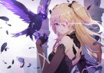 1girl animal back bare_shoulders bird black_dress black_gloves blonde_hair breasts detached_sleeves diffraction_spikes dress electricity eyepatch feathers fischl_(genshin_impact) genshin_impact gloves green_eyes hair_over_one_eye hair_ribbon highres long_hair looking_at_viewer oz_(genshin_impact) raven_(animal) ribbon scal2let sidelocks small_breasts solo two_side_up upper_body