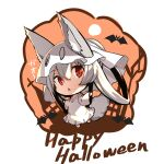 1girl :< animal animal_ear_fluff animal_ears bangs barefoot bat chibi commentary_request dress ears_through_headwear eyebrows_visible_through_hair fang fox_ears fox_girl fox_tail hair_between_eyes hair_rings halloween happy_halloween highres long_hair long_sleeves looking_at_viewer original parted_lips red_eyes silver_hair solo tail translation_request triangle_mouth very_long_hair white_background white_dress wide_sleeves yuuji_(yukimimi)