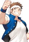 1boy bara blue_jacket brown_eyes brown_hair chest clenched_teeth gondom headband jacket male_focus muscle shirt short_hair short_sleeves sideburns solo teeth the_king_of_fighters upper_body white_background white_shirt yabuki_shingo
