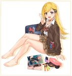 1girl :3 :d arm_support bag bangs bare_legs barefoot blonde_hair blue_bag blurry blush bow bowtie breasts brown_hair brown_nails brown_neckwear brown_skirt choker collarbone ear_piercing earrings eyebrows_visible_through_hair feet from_side fujimoto_rina grey_eyes hand_up heart high-waist_skirt highres idolmaster idolmaster_cinderella_girls idolmaster_cinderella_girls_starlight_stage jewelry lipstick_tube long_hair long_sleeves looking_at_viewer magazine multicolored_hair nail_polish necklace open_mouth piercing plaid plaid_skirt pleated_skirt polka_dot polka_dot_bow red_bow ring sexy_gals_(idolmaster) shirt sirurabbit sitting skirt small_breasts smile solo thighs two-tone_hair w white_shirt