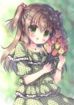 1girl bead_bracelet beads blouse blush bracelet brown_hair checkered checkered_shirt cowboy_shot eyebrows_visible_through_hair flower green_eyes hair_between_eyes hair_bobbles hair_ornament hairclip highres holding holding_flower jewelry kouta. long_hair necklace open_mouth original puffy_short_sleeves puffy_sleeves rose shirt short_sleeves solo two_side_up