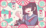 1girl bandaid bandaid_on_finger black_hair blood blue_serafuku crazy cross crying crying_with_eyes_open cutting frame grin hime_cut holding kirara_yakubou knife long_hair long_sleeves one-eyed original pale_skin pink_eyes pink_nails rabbit red_eyes red_neckwear scar self_harm smile spiral_eyes star-shaped_pupils star_(symbol) striped sunburst sunburst_background sweatdrop symbol-shaped_pupils tears yami_kawaii