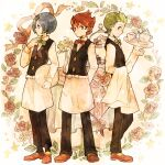 3boys apron arms_behind_back bangs black_vest blue_hair brothers chili_(pokemon) cilan_(pokemon) clenched_hand closed_mouth collared_shirt commentary_request cress_(pokemon) cup flower green_eyes green_hair hand_up holding holding_tray long_sleeves looking_at_viewer male_focus multiple_boys pants pokemon pokemon_(game) pokemon_bw red_eyes redhead saucer shirt short_hair siblings smile table teacup teapot tray vase vest waist_apron white_shirt y0110y
