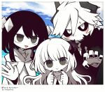 1boy 1girl 1other :d androgynous artist_name black_hair black_nails black_neckwear black_sclera blush child cloak clouds cloudy_sky commission demon_boy etihw eyes_visible_through_hair family father_and_daughter funamusea fur_collar grey_eyes grey_nails haiiro_teien hair_between_eyes head_tilt horns kcalb long_hair long_sleeves mogeko_(okegom) mother_and_daughter necktie no_mouth open_mouth pale_skin parent_and_child photo_(object) short_hair short_hair_with_long_locks sidelocks silhouette_(mogeko) skeb_commission sky slit_pupils smile sweat white_eyes white_hair