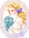 1girl alternate_costume alternate_hairstyle bare_shoulders blonde_hair blue_flower blue_rose blush bouquet collarbone commentary_request curly_hair dress fate_testarossa flower hair_flower hair_ornament highres holding holding_bouquet leonis_g long_hair looking_at_viewer lyrical_nanoha mahou_shoujo_lyrical_nanoha_strikers purple_flower purple_rose rose smile solo strapless strapless_dress upper_body wedding_dress white_dress