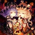 2girls alternate_color alternate_costume bare_shoulders bat_wings black_dress black_headwear blonde_hair blue_hair bow brooch bucket buttons candy cherry commentary_request crystal dark_background dress eyeball flandre_scarlet food fork fruit halloween halloween_costume hat hat_bow hinomaru_bento holding jack-o'-lantern jewelry lollipop looking_at_viewer mob_cap multiple_girls orange_dress red_bow red_eyes remilia_scarlet short_sleeves siblings side_ponytail sisters swirl_lollipop touhou upper_body white_headwear wings wrapped_candy